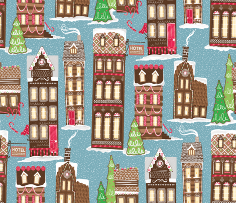 paris-streets-gingerbread-layout-1-partly-rasterized-rescaled-300 fabric by michaelzindell on Spoonflower - custom fabric