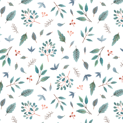 watercolor blue leaves and twigs fabric by alenaganzhela on Spoonflower - custom fabric
