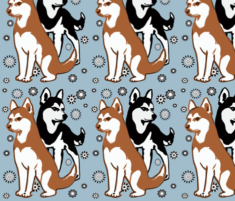 double colors siberian husky fabric by dogdaze_ on Spoonflower - custom fabric