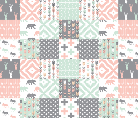 Willow Woods Patchwork Quilt top - pink, grey, mint - woodland fabric by littlearrowdesign on Spoonflower - custom fabric