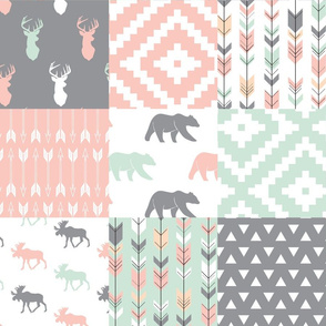 Willow Woods Patchwork Quilt top - pink, grey, mint - woodland
