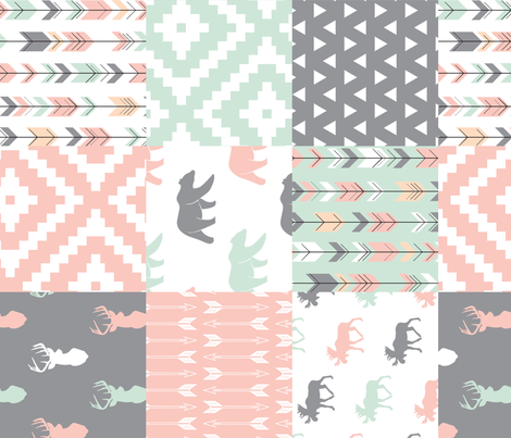 Willow Woods Patchwork Quilt top - pink, grey, mint - woodland (90) fabric by littlearrowdesign on Spoonflower - custom fabric