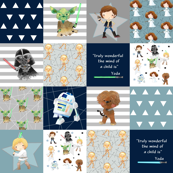 Nerdy Space Wars Patchwork Quilt Top – Wholecloth Yoda Chewbacca R2D2 Kids Room Bedding Blanket