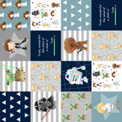 Nerdy Space Wars Patchwork Quilt Top (rotated) – Wholecloth Trendy Geek Fantasy Kids Room Bedding Blanket