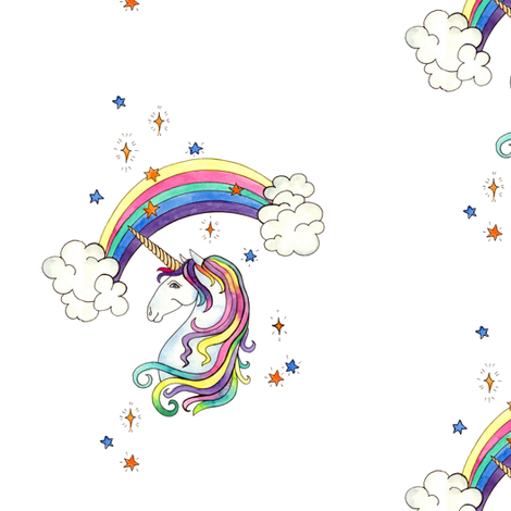 rainbow unicorns. bigger fabric by alenaganzhela on Spoonflower - custom fabric