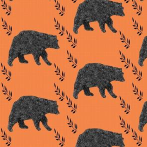 maine black bear on orange