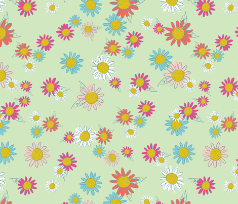 SimpleFloral-Green fabric by lizalew on Spoonflower - custom fabric