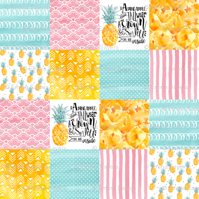 3 inch Watercolor Pineapple - Wholecloth Cheater Quilt