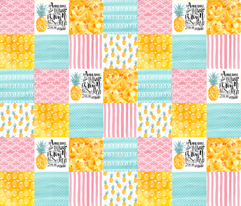 3 inch Watercolor Pineapple - Wholecloth Cheater Quilt fabric by longdogcustomdesigns on Spoonflower - custom fabric