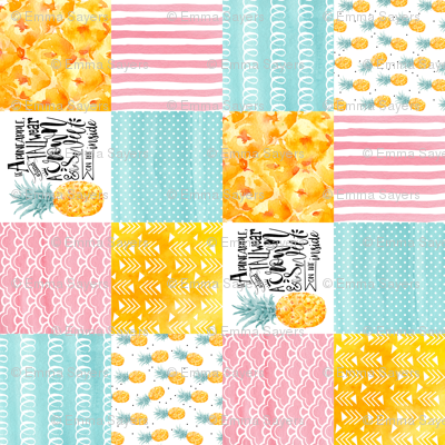 Watercolor Pineapple - Wholecloth Cheater Quilt Rotated