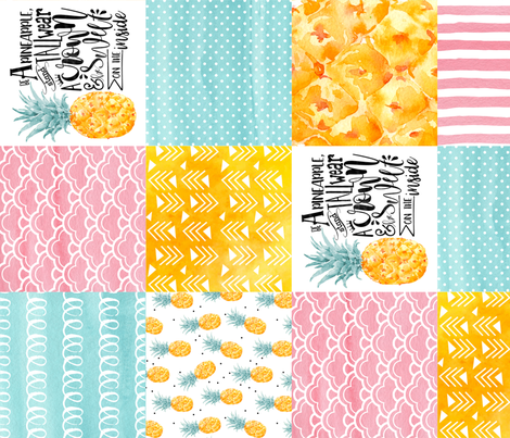 Watercolor Pineapple - Wholecloth Cheater Quilt Rotated fabric by longdogcustomdesigns on Spoonflower - custom fabric