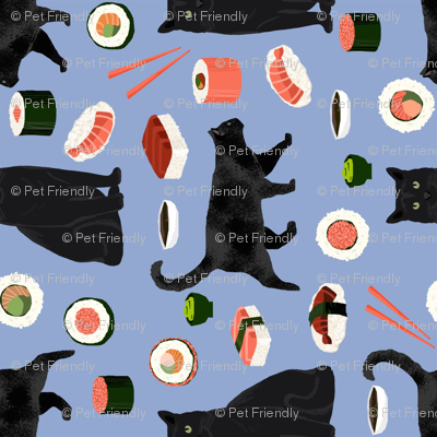 black cat sushi fabric (large scale) cute cats and food fabric design - powder blue