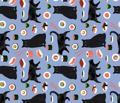black cat sushi fabric (large scale) cute cats and food fabric design - powder blue fabric by petfriendly on Spoonflower - custom fabric
