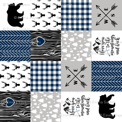 To the Mountains - Wholecloth Cheater quilt - Navy - Rotated
