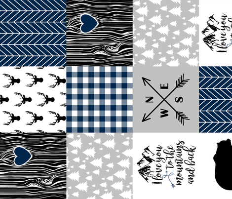 To the Mountains - Wholecloth Cheater quilt - Navy - Rotated fabric by longdogcustomdesigns on Spoonflower - custom fabric