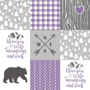 To The Mountains - Wholecloth Cheater Quilt - Purple