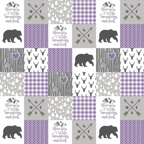 3 Inch To The Mountains - Wholecloth Cheater Quilt - Purple