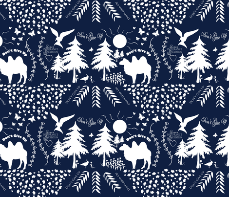 Don't Give Up - Dark Blue jw fabric by applebutterpattycake on Spoonflower - custom fabric