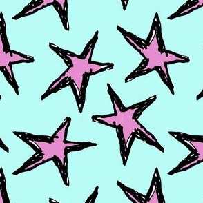 Grunge Stars Ocean Blue/Pink
