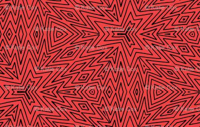 kaleidoscope lines ~ black on red