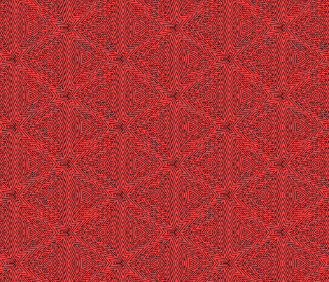 kaleidoscope lines ~ black on red fabric by cardamom_copy on Spoonflower - custom fabric