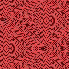 kaleidoscope lines ~ black on red
