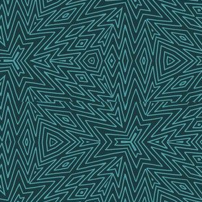kaleidoscope lines ~ teal on slate grey