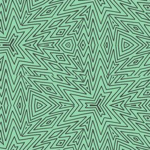 kaleidoscope lines ~ brown on mint green