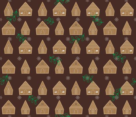 Gingerbread House  fabric by jennifernantuna on Spoonflower - custom fabric