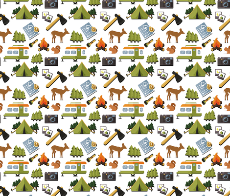 Camping in the woods white fabric by littlefancypants on Spoonflower - custom fabric
