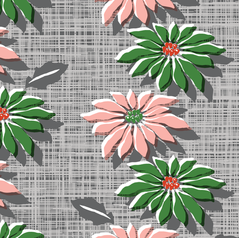 Poinsettias* (Red & Green Hatch) || jumbo poinsettia flower flowers floral vintage retro stripes Christmas holiday plant nature decor tradition large format scale linens tablecloth kitchen fabric by pennycandy on Spoonflower - custom fabric