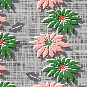 Poinsettias* (Red & Green Hatch) || poinsettia flower flowers floral vintage retro stripes Christmas holiday plant nature decor tradition large format scale linens tablecloth kitchen