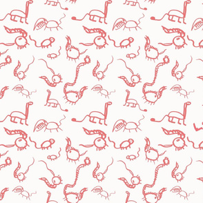 Dinosaurs for Apron Pink