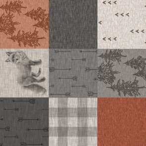 Red Fox Forest - rust and dark grey