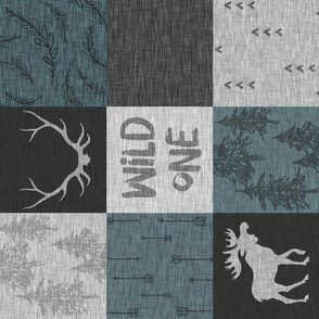 Wild One Quilt - Slate  blue, black, grey - bear, moose, antlers