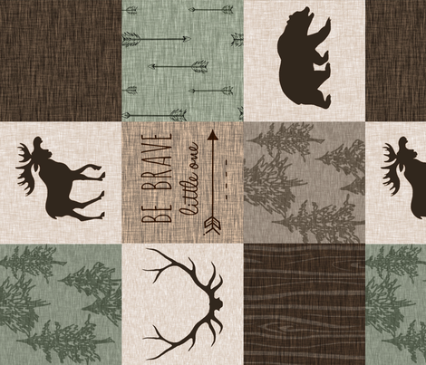 Be Brave Quilt- green and brown - rotated -  moose, bear,  antlers fabric by sugarpinedesign on Spoonflower - custom fabric
