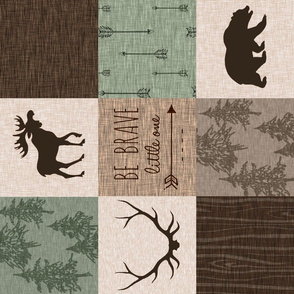 Be Brave Quilt- green and brown - rotated -  moose, bear,  antlers