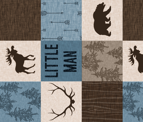 Little Man Quilt - blue, brown, beige - Rotated - bear, moose, antlers fabric by sugarpinedesign on Spoonflower - custom fabric