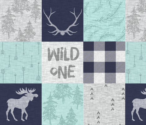Wild One - mint, navy, grey - bear, moose, antlers - woodland whole cloth quilt fabric by sugarpinedesign on Spoonflower - custom fabric