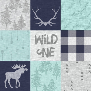 Wild One - mint, navy, grey - bear, moose, antlers - woodland whole cloth quilt