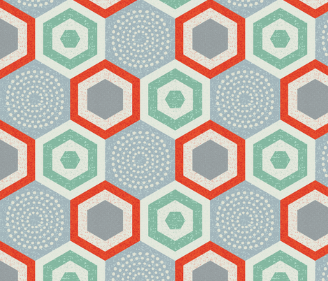 hexagon 4d-mcm fabric by ottomanbrim on Spoonflower - custom fabric