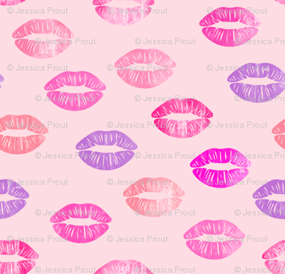 (small scale) smooches - kisses - multi  on pink