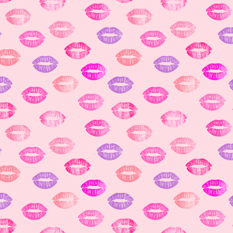 (small scale) smooches - kisses - multi  on pink fabric by littlearrowdesign on Spoonflower - custom fabric