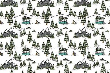 Winter Wonderland Vintage Camper  fabric by averielaneboutique on Spoonflower - custom fabric