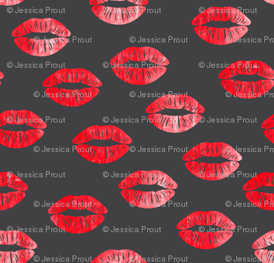 smooches - kisses - red on grey