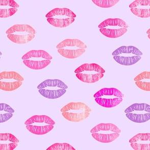 smooches - kisses - multi on purple