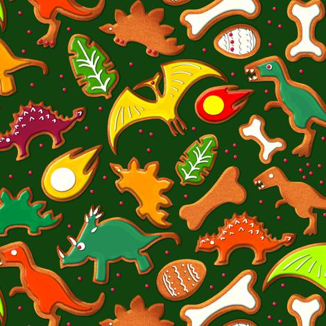 Dinosaur Gingerbread Cookies fabric by jadegordon on Spoonflower - custom fabric