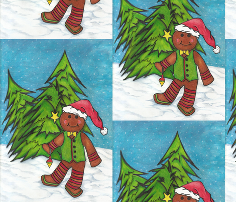 gingerbread man and the 3 trees fabric by okrosebud on Spoonflower - custom fabric
