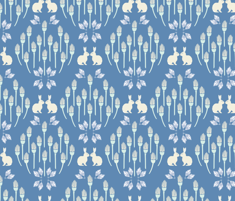 Ox eye + Hare Seeing Double in Blue - Large fabric by alisonmoen on Spoonflower - custom fabric