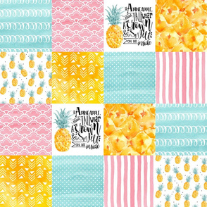 4.5in Watercolor Pineapple Wholecloth Cheater Quilt